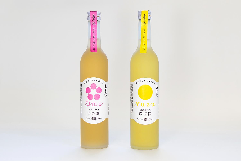 マスカガミ 萬寿鏡ゆず酒 うめ酒 パッケージデザイン ラベルデザイン